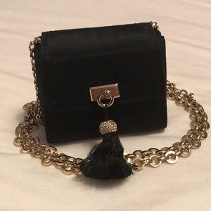 Talbots Mini Black Evening Bag, Gold Chain
